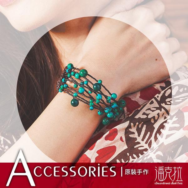 蠟繩編織青玉石手環綠-F【潘克拉Accessories】
