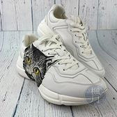 BRAND楓月 GUCCI 古馳 583337 白色 皮革 中筒 貓咪印花 白鞋 球鞋 休閒鞋 #39.5