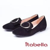 itabella.時尚優雅羊絨金屬飾扣包鞋(8554-93黑色)