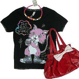 【波克貓哈日網】 春夏短袖T恤◇貓咪圖案◇《神秘黑色》蕾絲收邊