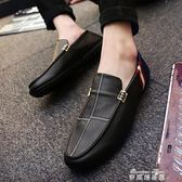 夏季新款韓版潮流男鞋子休閒豆豆鞋男百搭一腳蹬懶人皮鞋潮鞋   麥琪精品屋