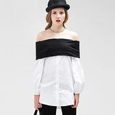一字領露肩上衣-情人節穿搭歐美時尚黑白撞色女裝73ll25【巴黎精品】