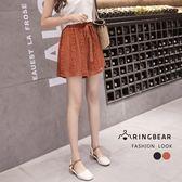 短褲--時尚優雅氣質雙層蕾絲高腰加寬個性繫繩A字修身褲裙(黑.咖L-3L)-R217眼圈熊中大尺碼