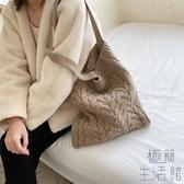 毛線編織包日系韓版古著感女單肩側背包斜背包【極簡生活】