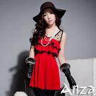 【AnZa】紗點滾邊蛋糕裙洋裝 (二色)