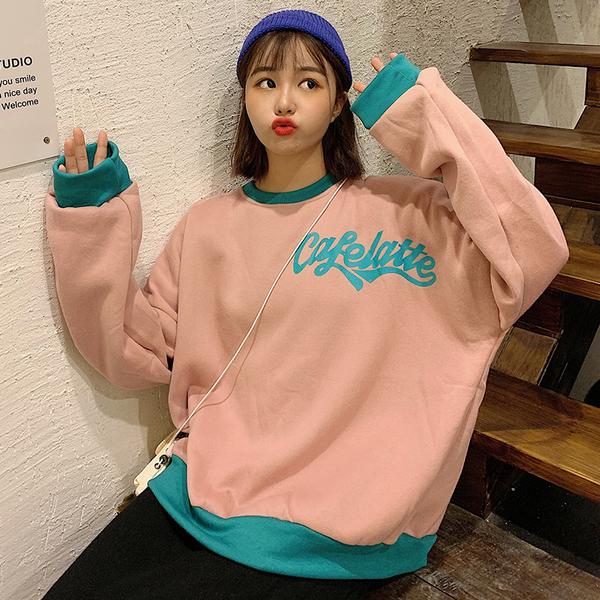 清倉188 韓國學院風寬鬆字母印花圓領套頭長袖上衣