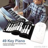 鋼琴  49鍵帶喇叭手捲鋼琴便攜摺疊電子琴能捲起來的鋼琴兒童初學練習琴 莫妮卡小屋