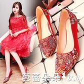 婚鞋女 18春季新款紅色婚鞋女尖頭高跟中式秀禾鞋民族風繡花鞋紅鞋新娘鞋 芭蕾朵朵