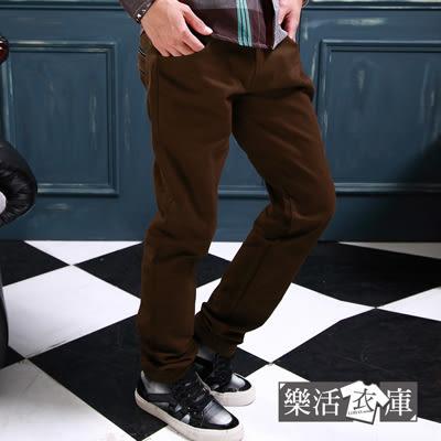 雅痞風皮革滾邊口袋斜紋布休閒長褲(共二色) 樂活衣庫【P312】