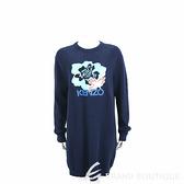 KENZO 扶桑花字母補丁藍色羊毛針織衫洋裝 1910234-34