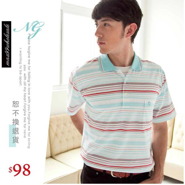 【大盤大】(P53671) NG恕不退換 男 夏 M號 條紋休閒衫 工作服 短袖POLO衫 口袋棉衫 運動 寬鬆