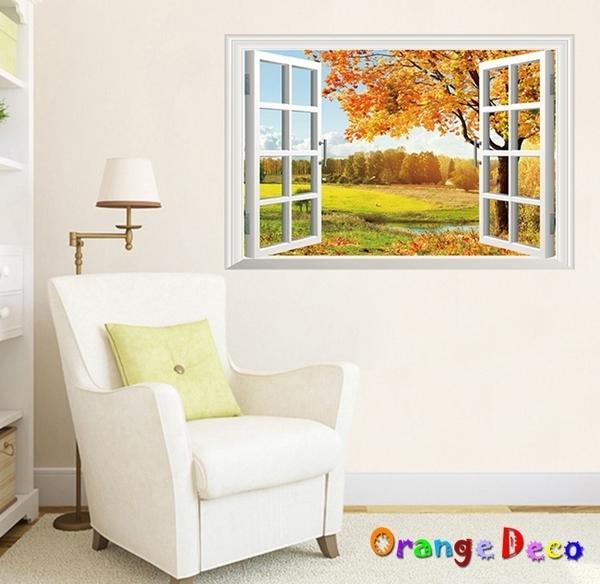 壁貼【橘果設計】窗外楓葉 DIY組合壁貼 牆貼 壁紙 室內設計 裝潢 無痕壁貼 佈置