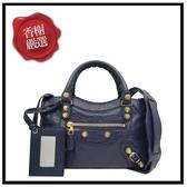 巴黎世家MINICITY藍色大金釦兩用包309544全新商品
