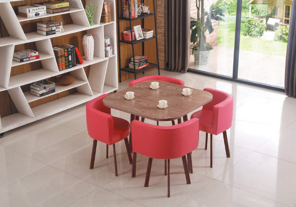 【IS空間美學】四合一轉角圓桌椅(仿胡桃木色/桃紅色布)(整組/恕不拆賣)