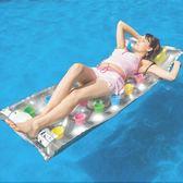 水上充氣浮排浮床 成人兒童沖浪板沙灘躺椅加厚帶把手戲水玩具  橙子