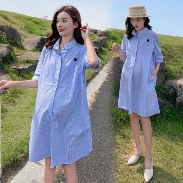 漂亮小媽咪 襯衫洋裝【D9206】 條紋 翻領 開扣 襯衫 洋裝 孕婦洋裝 孕婦裝