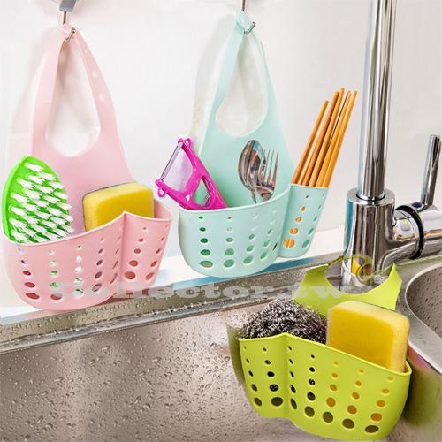 可調節按扣式水槽收納掛籃 廚房多用途置物架 水龍頭海綿瀝水籃