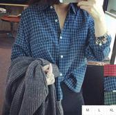 EASON SHOP GU0907 短款長袖格子格紋長袖襯衫M XL 女 棉麻短款內紮學院