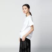 T恤-短袖純色簡約休閒百搭不規則女上衣2色73th15[時尚巴黎]