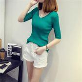 春夏女裝新款打底上衣韓版修身V領中袖T恤chic冰絲短袖針織衫  凱斯盾數位3C