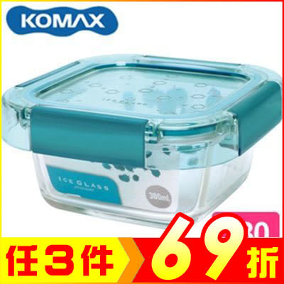 韓國 KOMAX 冰鑽方形強化玻璃保鮮盒 綠 380ml 60045【AE02272】JC雜貨