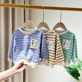 男童t恤條紋長袖秋裝2020新款小童春秋季1-5歲兒童打底衫寶寶上衣 滿天星