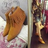 真皮短靴-時尚尖頭側拉鍊舒適平底流蘇女靴子2色72a47【巴黎精品】