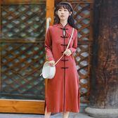 中國風復古個性棉制針織長袖長款改良旗袍女洋裝 蘇迪蔓