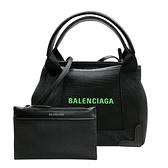 【台中米蘭站】全新品 Balenciaga NAVY Cabas XS 帆布拚牛皮手提斜背托特包(390346-黑)