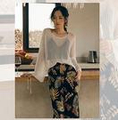 透視裝外穿罩衫白色針織衫寬鬆海邊度假內搭鏤空上衣/設計家分店