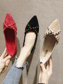 尖頭單鞋女韓版百搭淺口春款平底黑色網紅淺口豆豆鞋子   安妮塔小舖