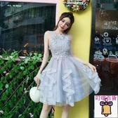 洋裝 2020秋裝韓版甜美可愛公主風禮服裙網紗訂珠伴娘服名媛蓬蓬洋裝 叮噹百貨