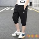 男童七分褲薄款純棉中大童馬褲兒童短褲男孩運動中褲【淘嘟嘟】