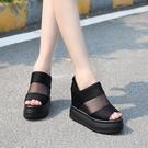 增高涼鞋 新款厚底楔形內增高涼鞋女夏季厚底魚嘴鞋百搭防水臺高跟涼靴-Ballet朵朵