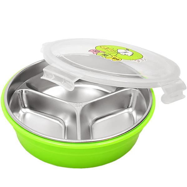 圓形三格不鏽鋼便當盒(附密封蓋)雙層隔熱午餐盒不銹鋼304分格分隔飯盒密扣式保鮮盒兒童國小