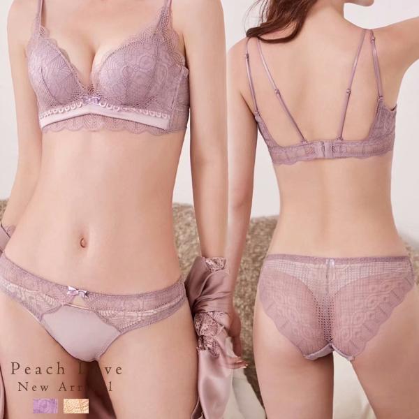 內衣 華麗優雅成套內衣褲組(紫)-集中爆乳性感胸罩無鋼圈_A罩杯~B.C.D大罩杯_蜜桃洋房