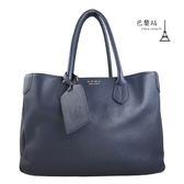 【巴黎站二手名牌專賣店】*現貨*A.D.M.J. 真品* 深藍色牛皮雙提把大容量肩背包 手提包