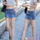 超短裙夏天女褲牛仔短褲女士夏季薄款女裝新款學生假兩件半身裙休閒褲裙 愛丫