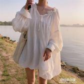 棉麻上衣 秋季韓版甜美寬鬆仙女氣質純色娃娃衫心機設計感泡泡長袖襯衫上衣  朵拉朵衣櫥