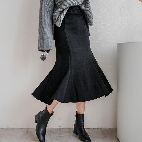 現貨-MIUSTAR 舒適內加絨!鬆緊腰開衩棉質魚尾裙(共2色,S-L)【NH3268】