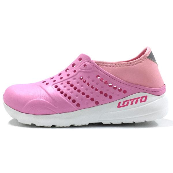 Lotto 樂得 女 粉紅 白 潮流洞洞鞋 輕便防水透氣 走路鞋 懶人鞋 pony可參考 洞洞拖鞋 LT7AWS5373