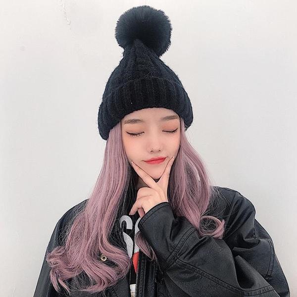假發毛線帽子女秋冬季一體時尚中長卷發全頭套式可拆卸百搭羊毛卷