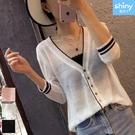【V3399】shiny藍格子-輕盈微透‧配色V領七分袖針織防曬外套