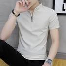 男士短袖t恤夏季2021新款韓版潮流純棉潮牌半袖男裝polo衫上衣服 黛尼時尚精品