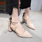 新款韓版綁帶單鞋時尚百搭涼鞋女夏中空粗跟鞋子女尖頭高跟鞋 時尚潮流