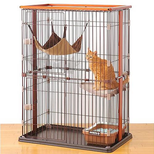 PetLand寵物樂園日本 BONBI 木製2層式貓籠/貓籠附貓吊床組