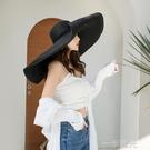 法式海邊度假草帽女沙灘超大帽檐帽子女夏遮陽帽防曬太陽帽可捲邊 一米陽光