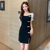 洋裝 新款夏季短袖連身裙改良旗袍氣質赫本小黑裙主播顯瘦