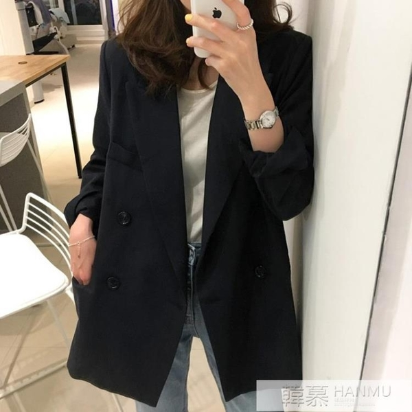 小西裝外套女韓版2020新款春秋網紅休閒黑色西服潮英倫風寬鬆套裝 牛轉好運到