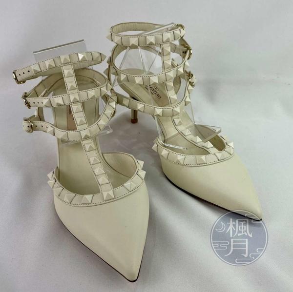 BRAND楓月 VALENTINO 范倫鐵諾 白色 綁帶 鉚釘裝飾 涼鞋 高跟鞋 羅馬鞋 尖頭鞋 #36